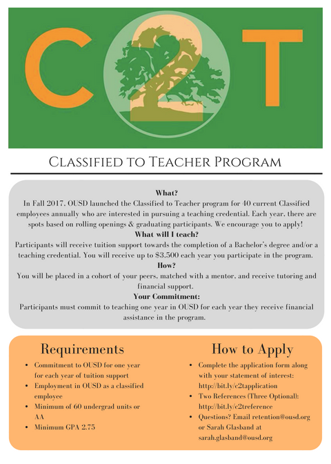 talent division classified to teacher program opportunity