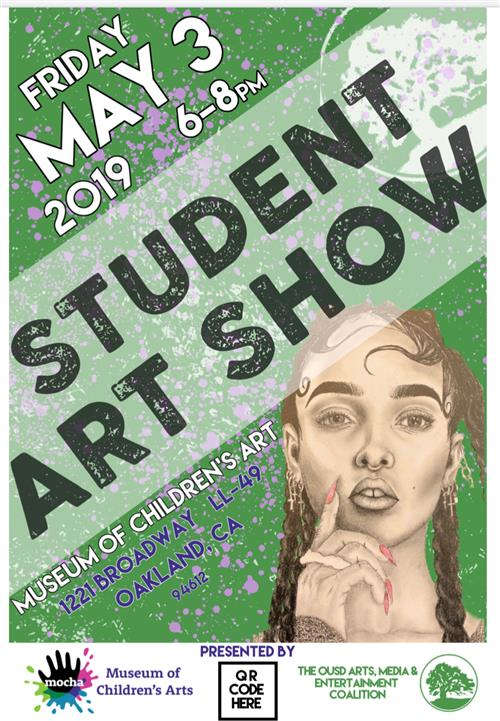 Postcard for Student Art Show on Fri May 3 from 6-8pm at MOCHA