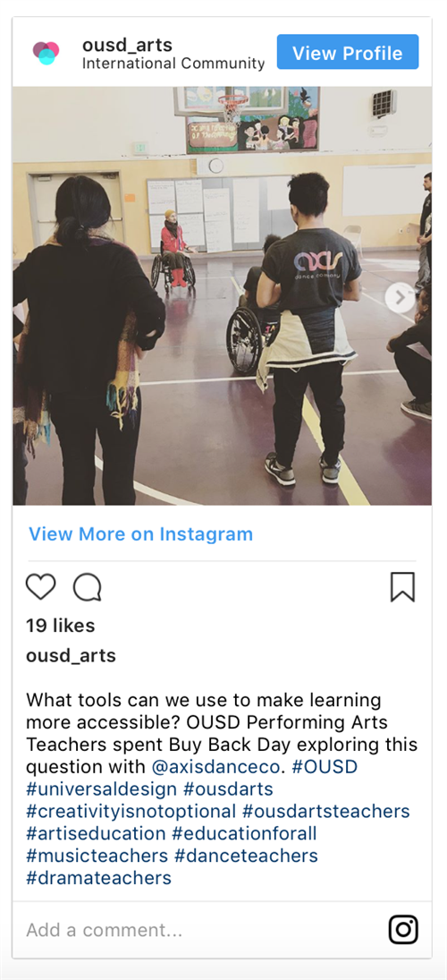 Image of OUSD's Instagram Page