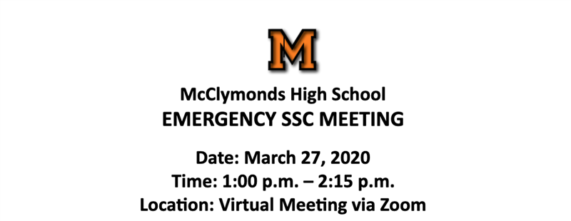 Emergency SSC Meeting, 3/27/20 at 1:00 PM