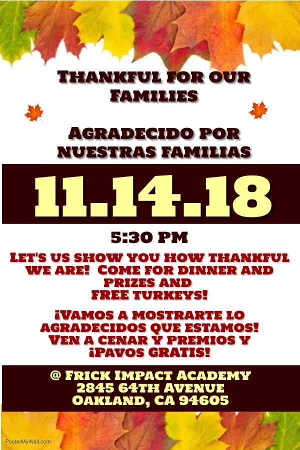 3rd Annual Thankful for our Families Holiday Dinner