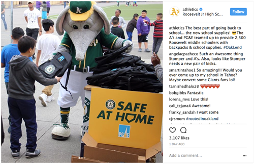 Oakland A's Give Backpacks to Roosevelt!