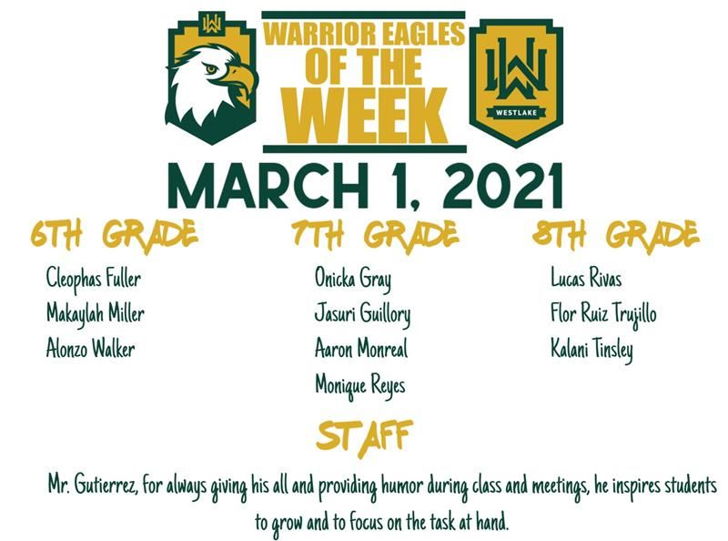 3.1.21 Warrior Eagles of the Week