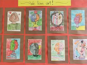 second-grade self-portraits