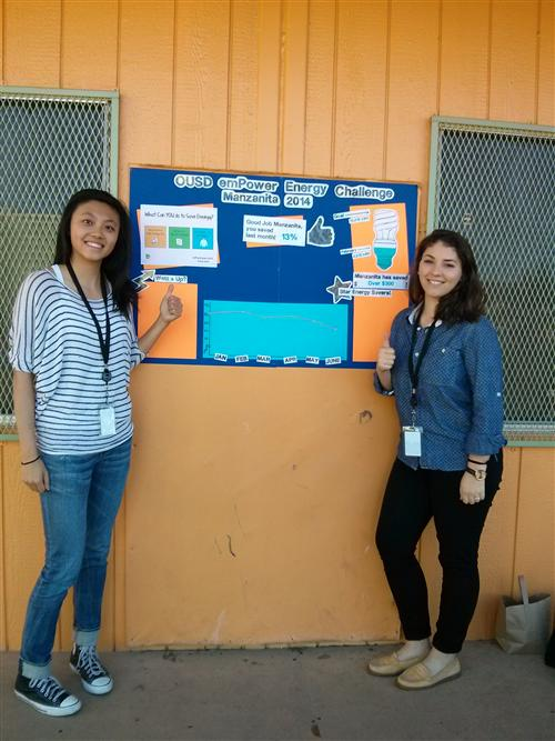 emPower team member in front of bulletin board
