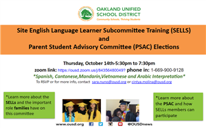 Flyer for 10.14.21 SELLS Training and LCAP PSAC Elections
