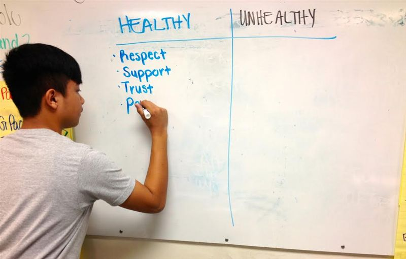 Student Working on Healthy Relationships Module