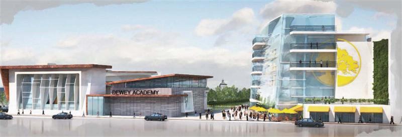 Rendering of proposed Dr. Marcus Foster Educational Leadership Campus, as seen from 2nd Avenue