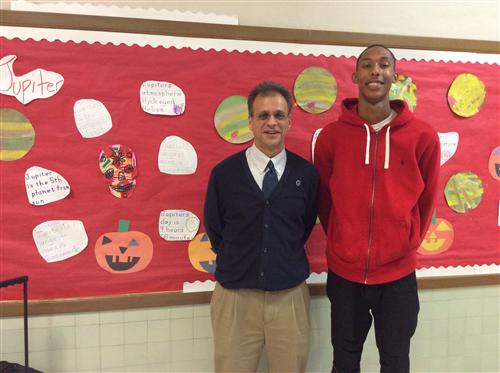 Mr. Panagos along with his former third grade student, Kumonie Porter, who inow works at Burckhalter.