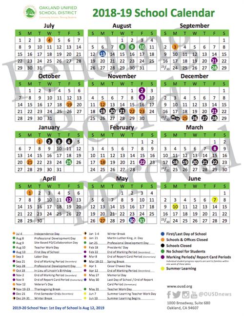School Year Calendar 2018 19 School Year Calendar