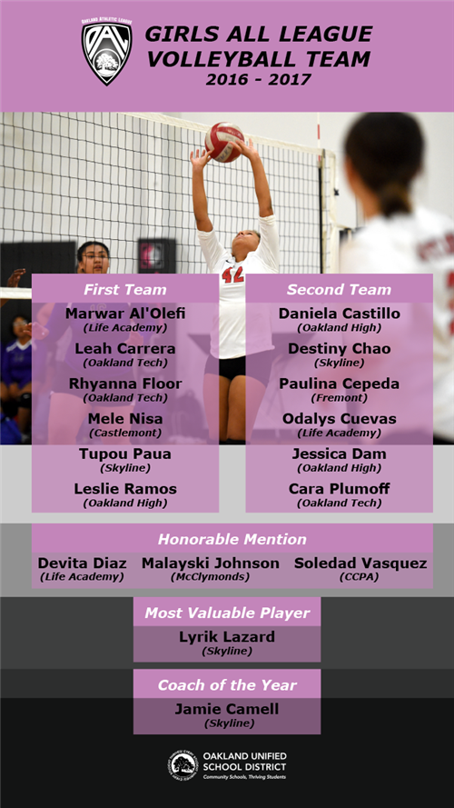 girls volleyball all league