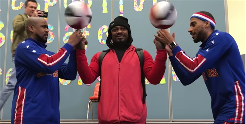 Marshawn Lynch and the Harlem Globetrotters Visit Emerson