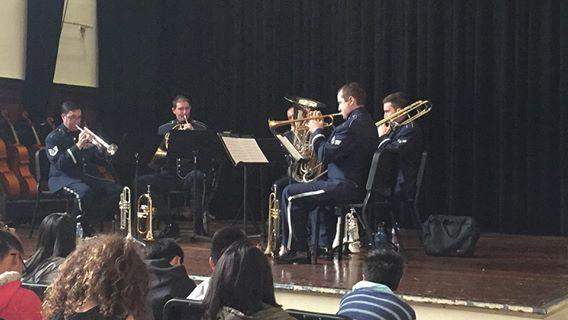 Band Members Play for Students