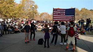 Students gathered to protest the election results.