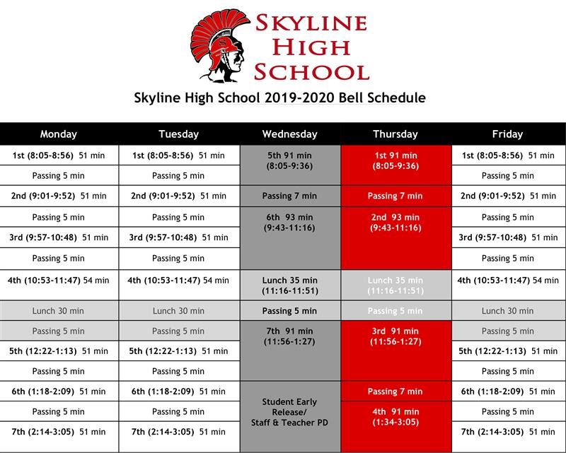 Skyline High School Bell Schedule 2019 – 2020