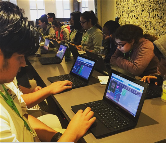 CCPA students at a coding workshop at Facebook