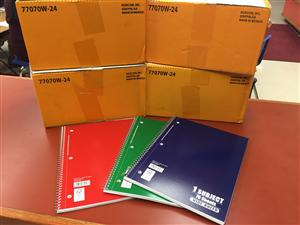 25 boxes of notebooks!