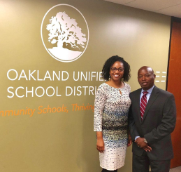 Superintendent  Johnson-Trammell  with Marcus Battle