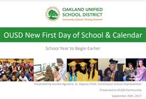 School Year Calendar / New First Day