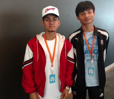Refugees and new OUSD Graduates, Milton (left) and Hser Gay at Salesforce in San Francisco.