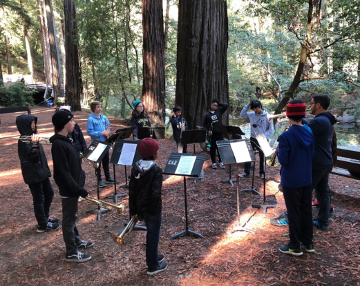 Students playing music among the redwoods