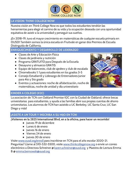 TCN Enrollment Flyer (Spanish)