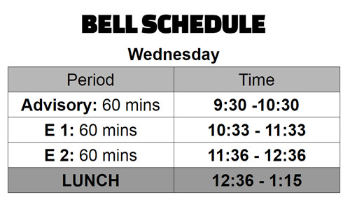 Newcomer Bell Schedule Wednesday