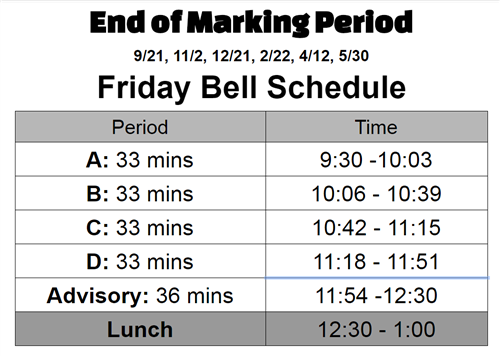 Newcomer End of Marking Period Schedule