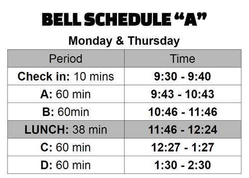 Newcomer Bell Schedule A