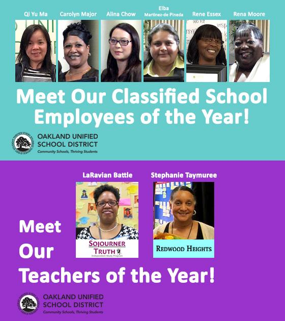 "Stacked Images: ""Meet Our Teachers of the Year and ""Meet Our Classified School Employees of the Year"
