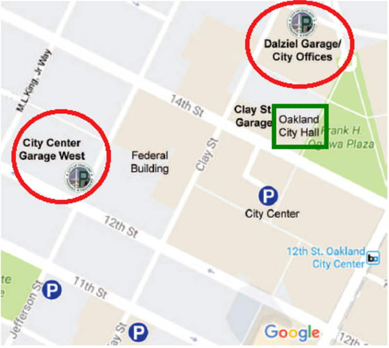 Map Graphic: City Hall Parking Garage Locations