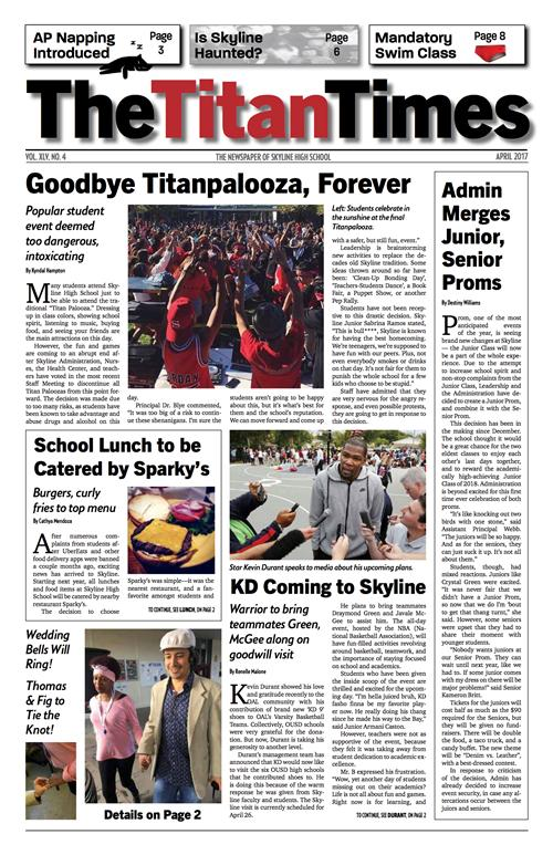 Front page of April 2017 Edition