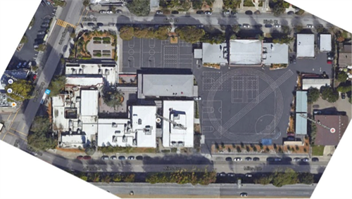 Aerial Picture of Claremont Middle School Cafeteria Construction Project